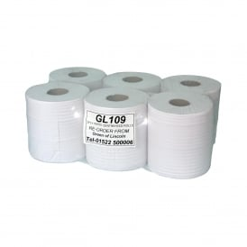 GL109 Standard centrefeed rolls white 2 ply 150m (pk 6)